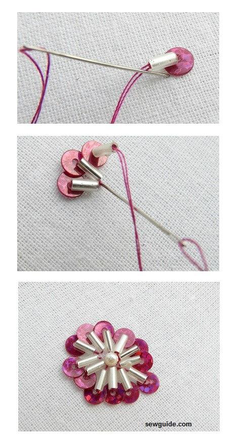 motivos de flores de bordado de cuentas