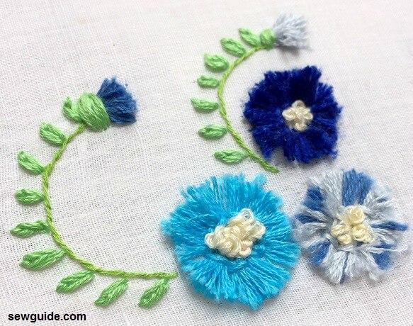 Técnica de bordado 3 d para flores