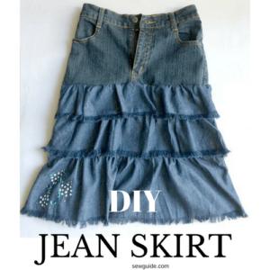 como hacer una falda de jeans y tela