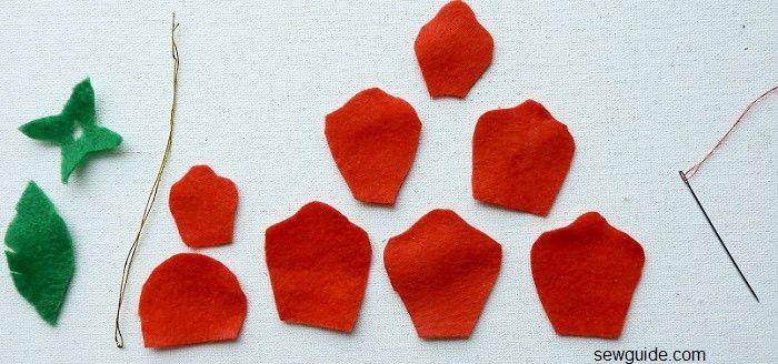 instrucciones para hacer flores de rosas con tela de fieltro