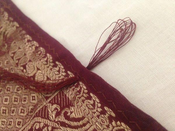 cómo hacer borlas de sari pallu