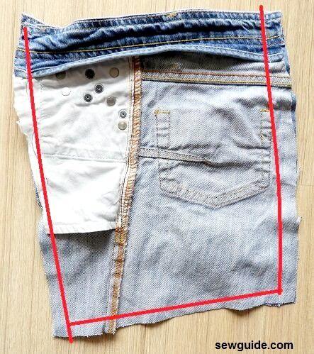 patrón de bolso de jeans reciclado