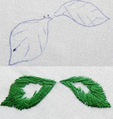 puntadas de bordado de hoja