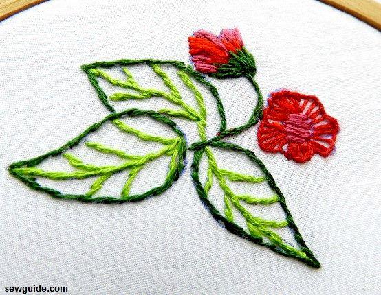 diseños de bordado de hojas