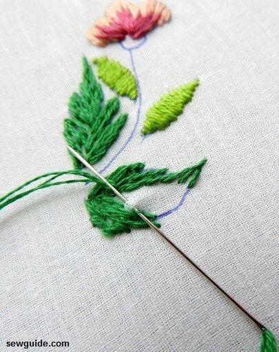 bordado de hojas