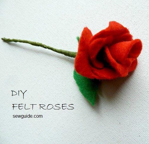 bricolaje rosas en fieltro