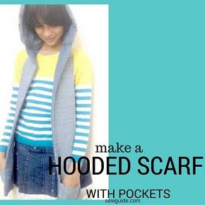 patrón de costura de bufanda con capucha