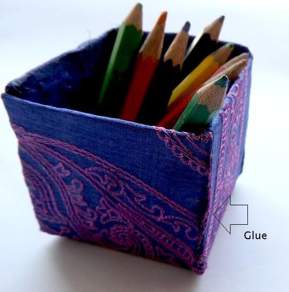 hacer cajas de almacenamiento con tela y cartón