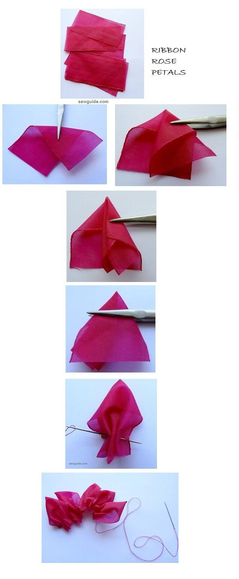 diy ribbon rose tutoriales