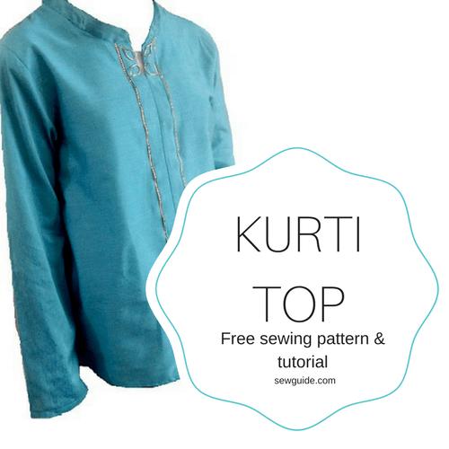 patrón de costura superior de kurti