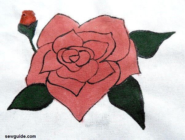 rosa pintura diy sobre tela