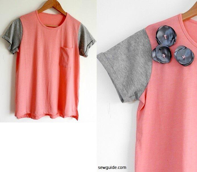 decorar una camiseta con flores