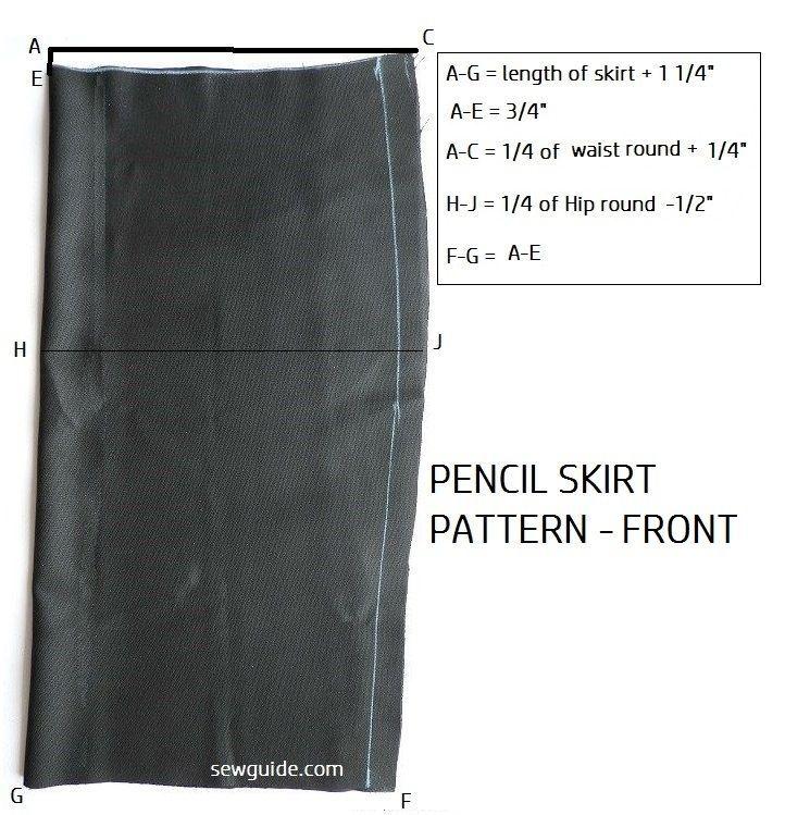 patrón de bricolaje para coser una falda lápiz