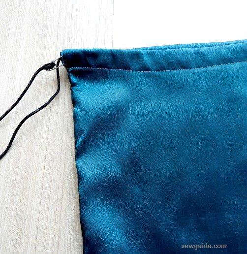 puntada bolsa con cordón fácil