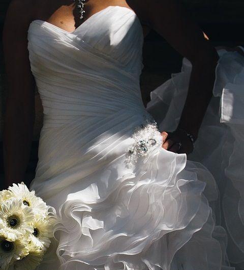 fruncido en el vestido de novia