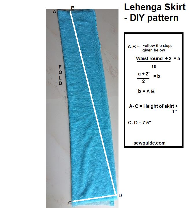 cortar y coser un patrón de costura lehenga