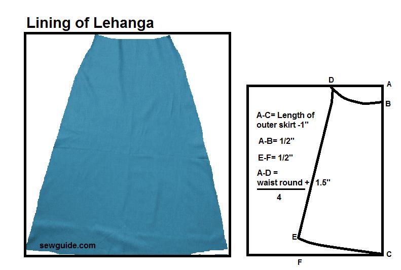 corte y costura de la falda lehenga