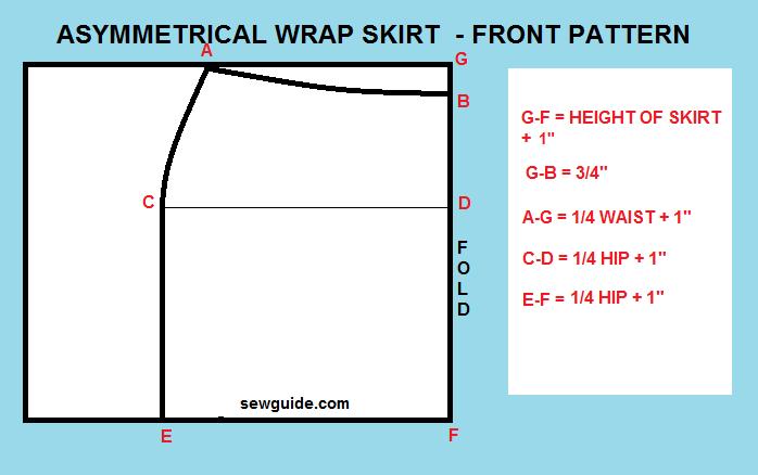 mini falda cruzada con dobladillo asimétrico