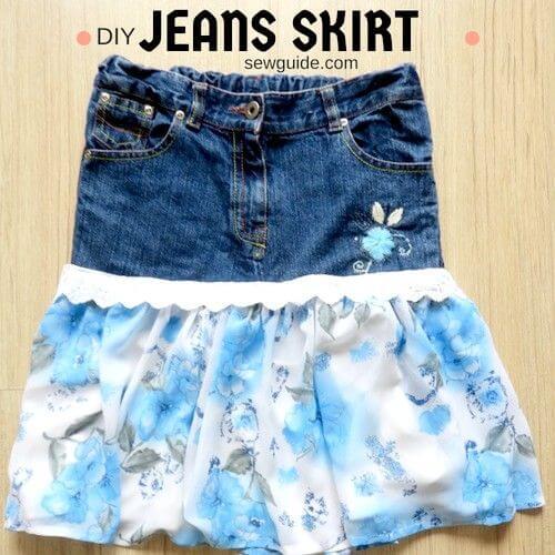 como hacer una falda de jean