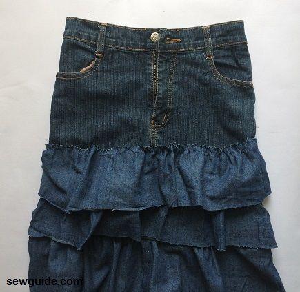 falda escalonada de jeans viejos