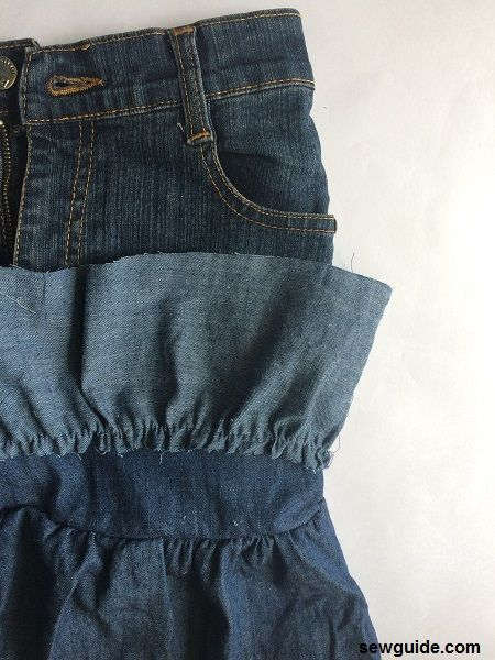 como coser una falda de unos jeans viejos