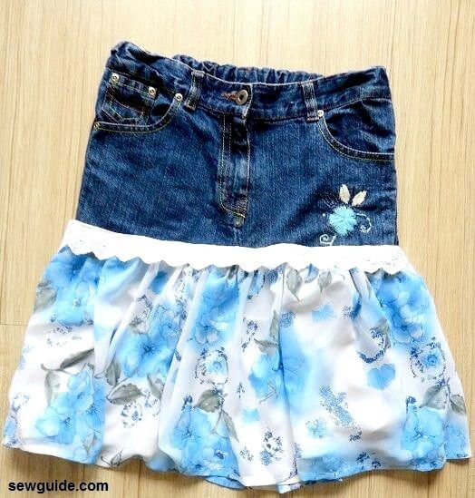 hacer falda de jeans de jeans viejos