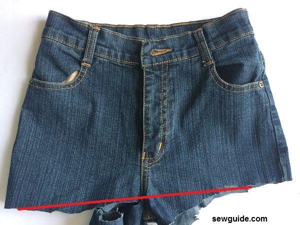 como hacer una falda con unos jeans viejos