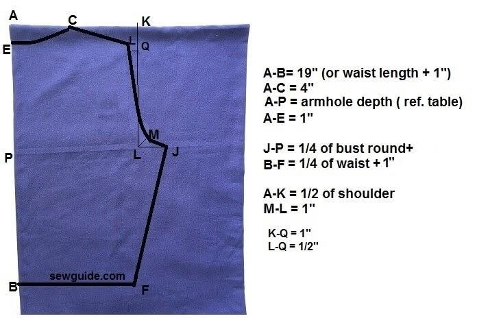 patrón de camisa con lazo frontal