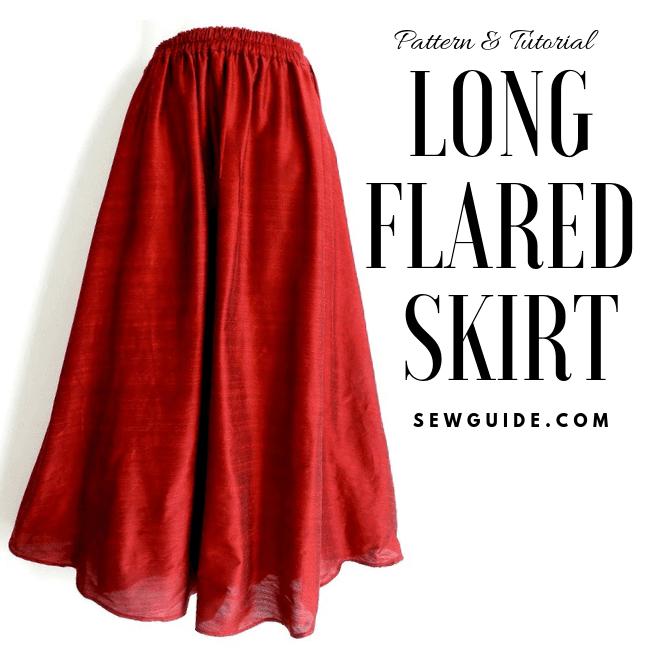 instrucciones paso a paso para coser una falda larga con destellos