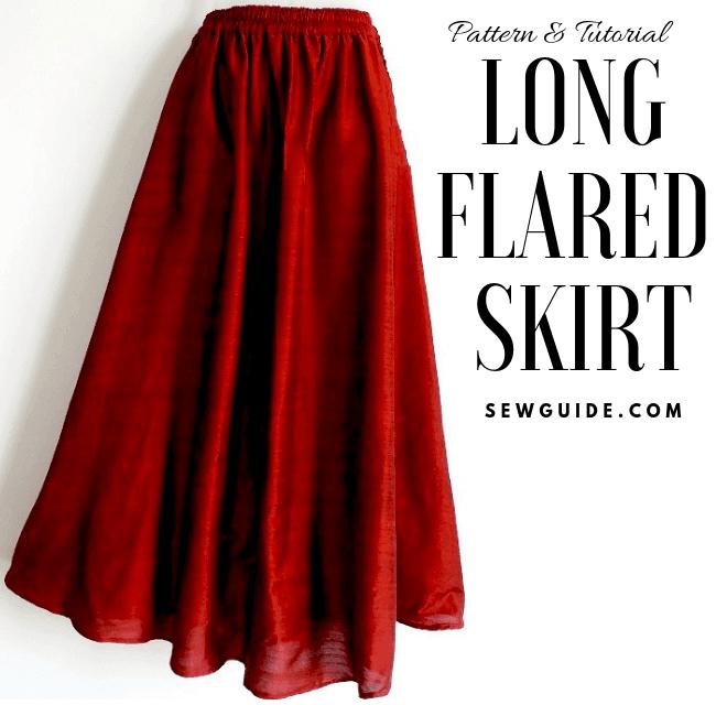 patrón de costura de falda larga y tutorial