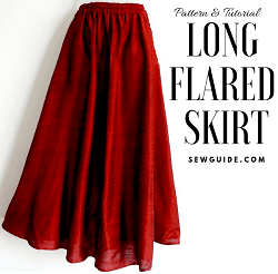 patrón de costura de falda larga acampanada