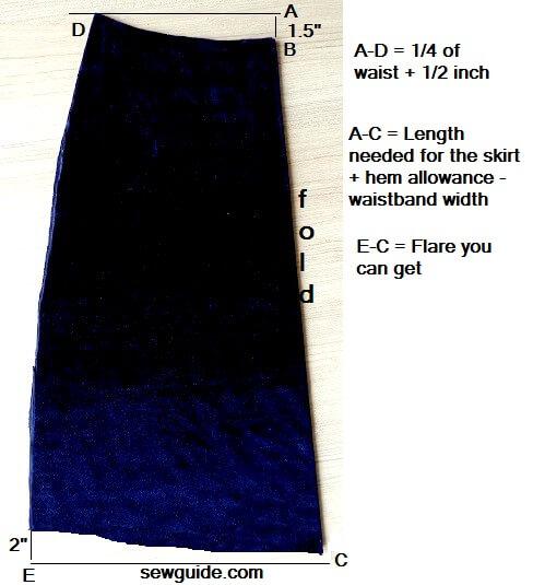patrón de falda aline