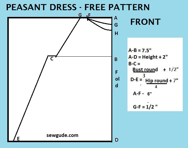 patrón de vestido campesino