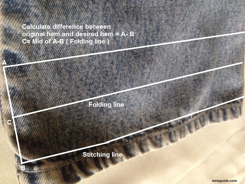 dobladillo de jeans
