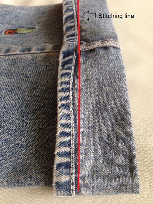 costura del dobladillo de jeans
