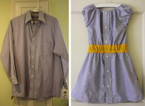 camisa de hombre con vestido reutilizado