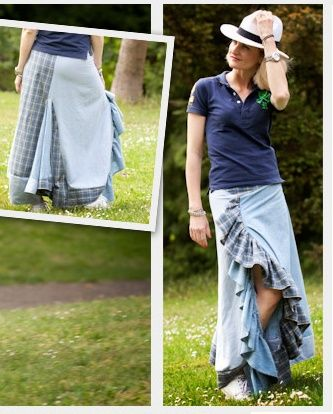 falda larga reciclada bricolaje
