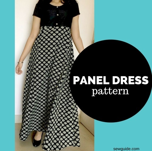 patrón de costura del vestido de panel