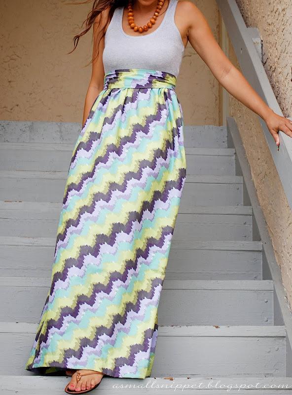 como coser una falda larga
