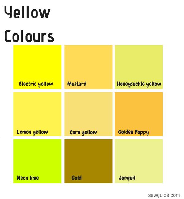 nombres de colores utilizados en el diseño de moda