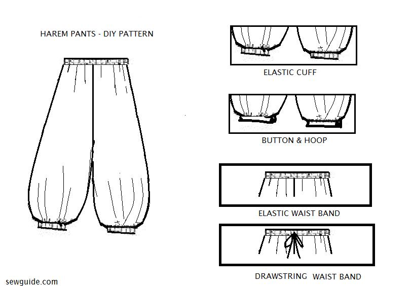 patrón de pantalones harén