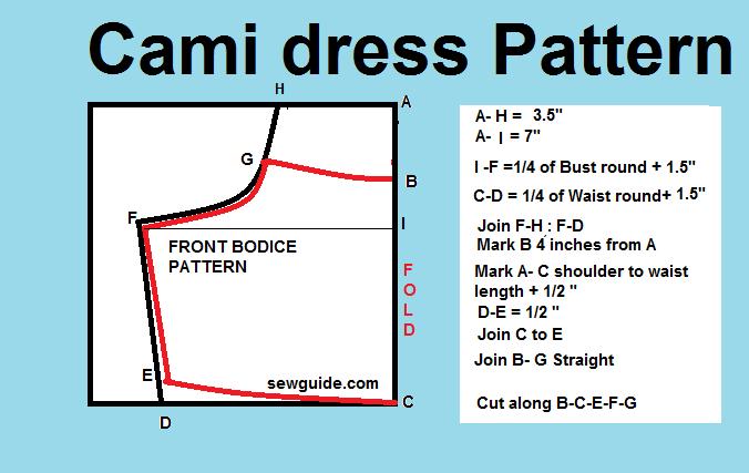 Patrón de vestido cami slip