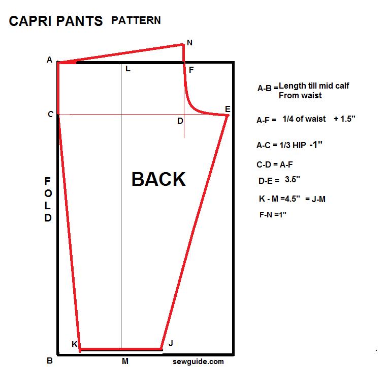 patrón de costura de pantalones capri