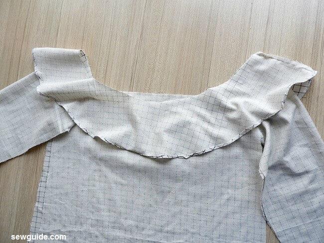 patrón de costura del vestido de túnica fuera del hombro