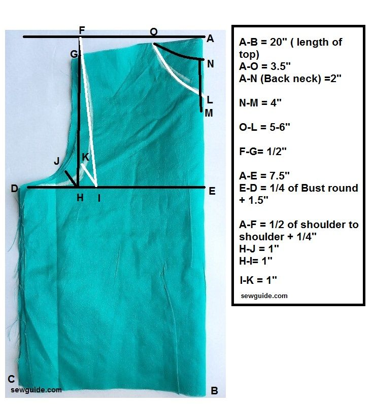 patrón de costura superior cuadrado