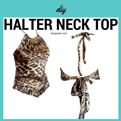 patrón de bricolaje superior de cuello halter